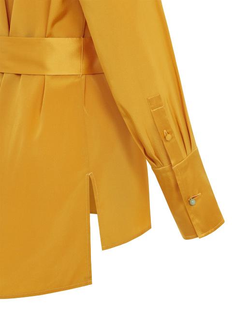Silk Crepe Shirt with Sash Belt