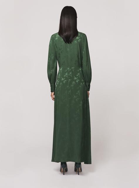 Bamboo Jacquard Stretch Silk Maxi Wrap Dress