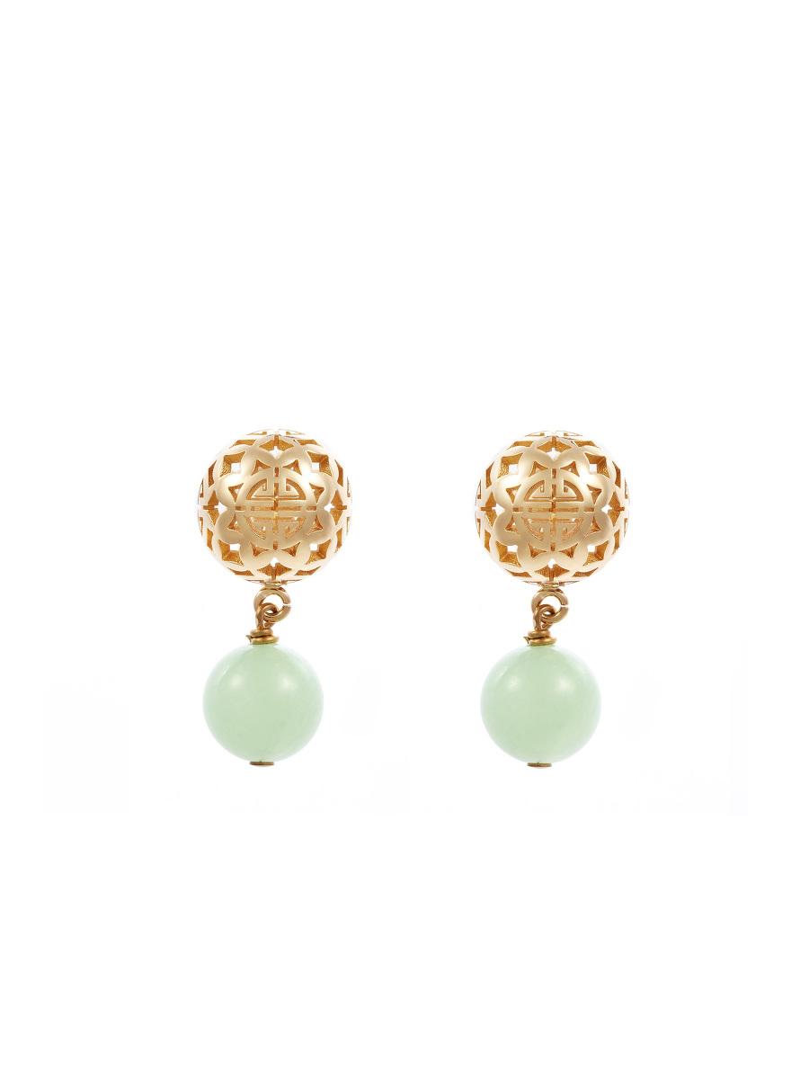 Shou Sphere Gemstone Drop Earrings