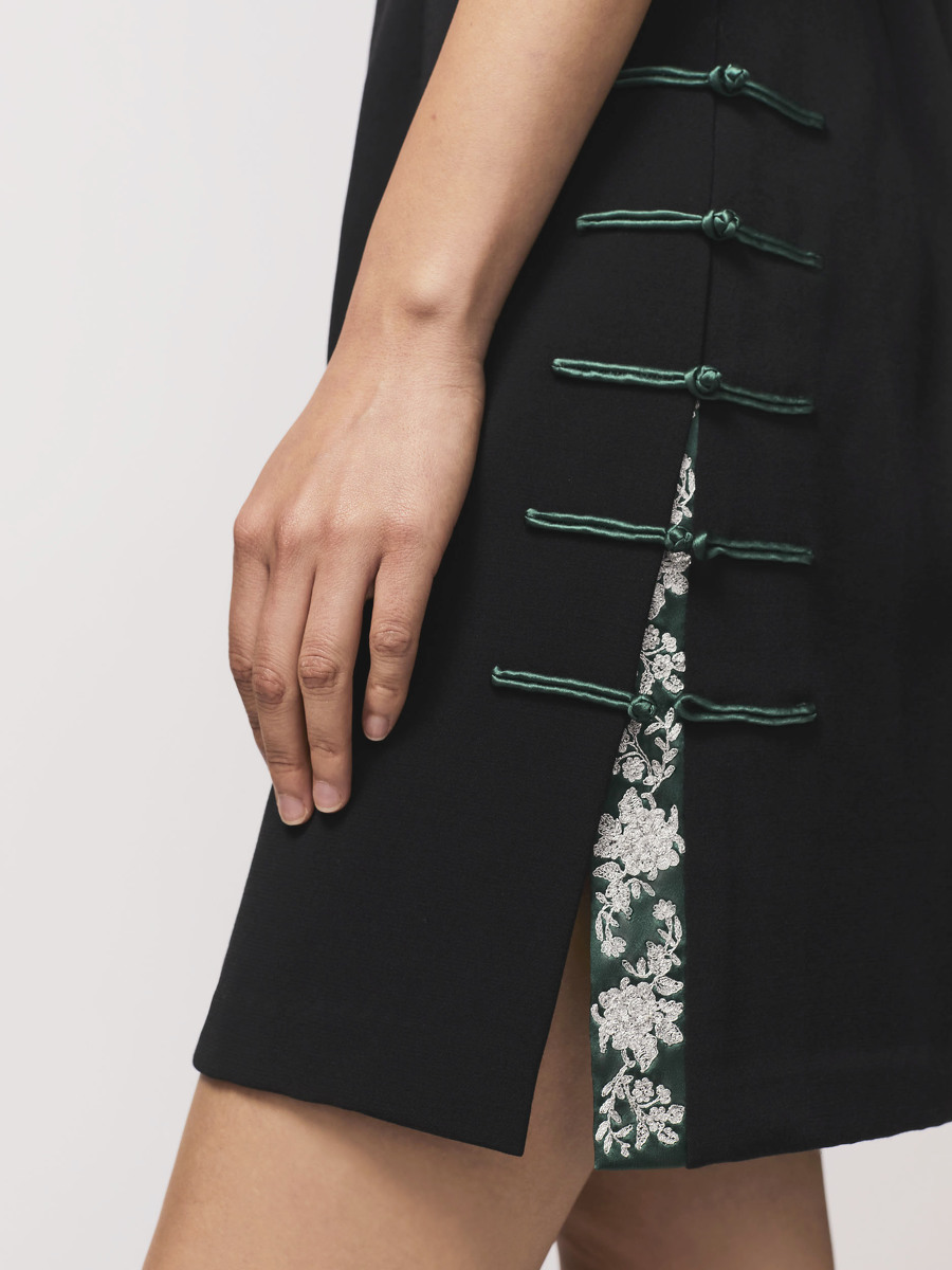 Stretch Mini Qipao with Embroidered Tape and Satin Button